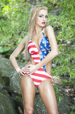 Gorgeous Blonde Wearing American Flag Swimsuit Stock Photos