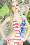 Gorgeous Blonde Wearing American Flag Royalty Free Stock Photos