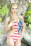 Gorgeous Blonde Wearing American Flag Stock Images