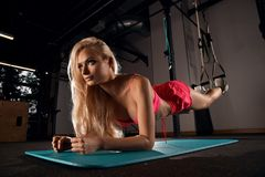 Beautiful blonde woman performing plank exercise. Gorgeous blonde woman with long hair, dressed in pink sports bra and shorts, performing plank with her forearms Stock Images