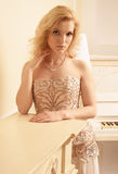 Gorgeous blonde woman in luxury interior Royalty Free Stock Images