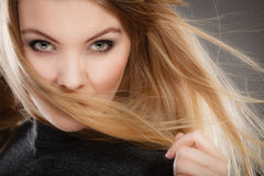 Gorgeous blonde woman with open waving hair. Royalty Free Stock Photos