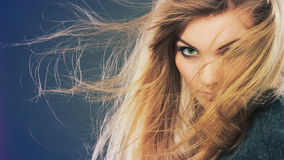Gorgeous blonde woman with open waving hair. Stock Photos