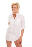 Gorgeous blonde woman in white Stock Photos