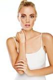 Gorgeous blonde woman on white Stock Photography