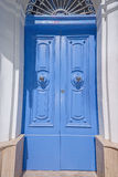 Gorgeous blue british house door at house on Malta Stock Photo