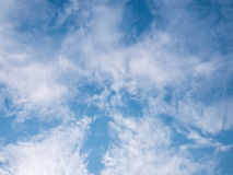 Gorgeous blue cloudy sky background. Copy space stock photo