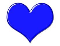 Gorgeous Blue Heart. Blue beveled heart on white background stock illustration