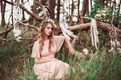 Gorgeous Boho Bride With Dream Catchers In Forest Stock Images