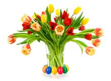 Gorgeous bouquet of tulips in a vase Royalty Free Stock Photography