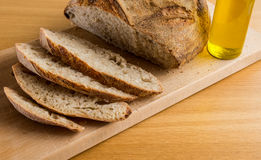 Gorgeous Breakfast with Handmade Bread and Olive Oil. Gorgeous Breakfast with Handmade Bread and Spanish Olive Oil. It is time to enjoy of a good meal Stock Photo