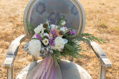 Gorgeous bridal bouquet with white peonies Royalty Free Stock Photo