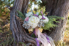 Gorgeous bridal bouquet with white peonies Stock Photography