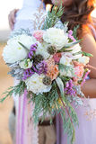 Gorgeous bridal bouquet with white peonies Royalty Free Stock Images