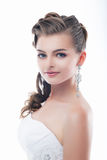 Gorgeous bride in bridal dress. Beauty face Stock Images