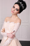 Gorgeous bride with dark hair in luxuious wedding dress. Fashion studio photo of gorgeous bride with dark hair in luxuious wedding dress Stock Photography
