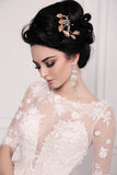 Gorgeous bride with dark hair in luxuious wedding dress. Fashion studio photo of gorgeous bride with dark hair in luxuious wedding dress Royalty Free Stock Photos