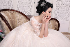 Gorgeous bride with dark hair in luxuious wedding dress. Fashion studio photo of gorgeous bride with dark hair in luxuious wedding dress Stock Image