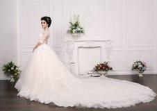 Gorgeous bride with dark hair in luxuious wedding dress. Fashion studio photo of gorgeous bride with dark hair in luxuious wedding dress stock image