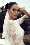 Gorgeous bride with dark hair wears elegant wedding dress Royalty Free Stock Image