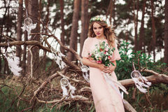 Gorgeous Bride With Dream Catchers Stock Images