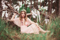 Gorgeous Bride With Dream Catchers In Forest Royalty Free Stock Images