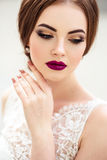 Gorgeous bride with fashion makeup and hairstyle in a luxury wedding dress royalty free stock images