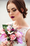 Gorgeous bride with fashion makeup and hairstyle in a luxury wedding dress stock images
