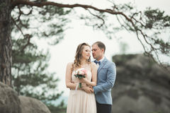 Gorgeous bride, groom kissing and hugging near the cliffs with stunning views Stock Photo