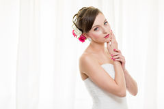 Gorgeous bride on her wedding day Stock Photos