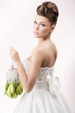 Gorgeous bride in long white luxury dress Royalty Free Stock Photo