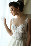 Gorgeous bride in luxurious wedding dress Royalty Free Stock Photography