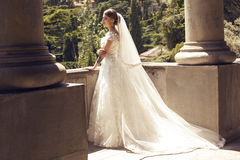 Gorgeous bride in luxurious wedding dress Royalty Free Stock Images