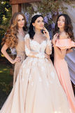 Gorgeous bride in luxurious wedding dress, posing with beautiful bridesmaids in elegant dresses. Fashion outdoor photo of gorgeous bride in luxurious wedding stock photos