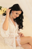 Gorgeous bride preparing to her wedding at the morning Stock Images