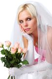 Gorgeous Bride with roses royalty free stock photography