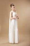 Gorgeous Bride in Sleeveless Dress. Simplicity. Stylish Woman in Sleeveless Dress Stock Image