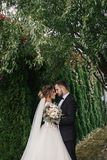 Gorgeous bride and stylish groom gently hugging on background of. Green trees. Sensual wedding couple embracing. Romantic moments of newlyweds. Modern wedding royalty free stock photography