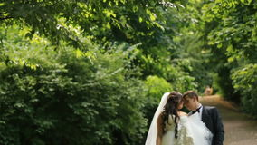 Gorgeous bride walks with her elegant groom in romantic sunny summer park. Outdoor shot with slow-motion stock video