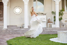 Gorgeous bride in wedding dress royalty free stock images