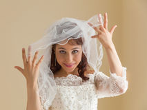 Gorgeous bride with white veil Royalty Free Stock Photography