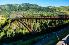 Gorgeous Bridge in Aspen Colorado Mountain Town Side View Stock Photo