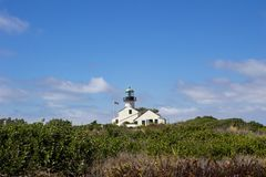 Gorgeous bright view of the Old Point Loma Light House in San Diego, California stock image
