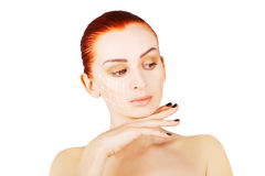 Gorgeous brown eyed red haired model portrait with skin surgery Stock Photography