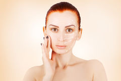 Gorgeous brown eyed red haired model with skin surgery mark isol Stock Images