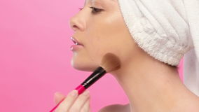 Gorgeous brunette in bathrobe stock video footage