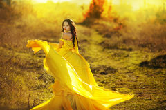 Gorgeous brunette beauty in a old-fashioned dress Royalty Free Stock Photography