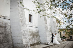 Gorgeous brunette bride hugging groom and posing near old castle Stock Photo