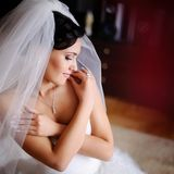 Gorgeous brunette caucasian bride Stock Photo