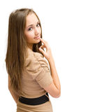 Gorgeous brunette gesturing. Royalty Free Stock Photo
